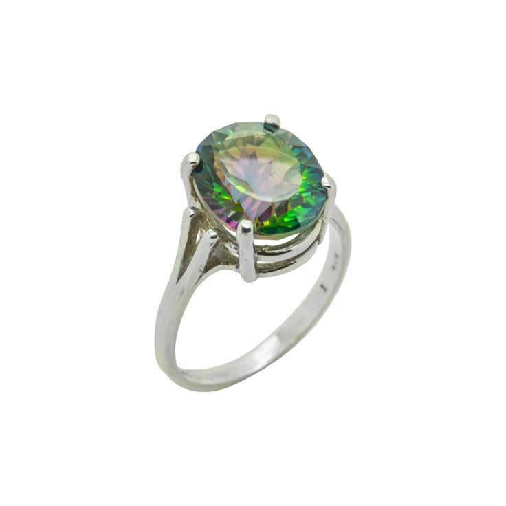 Magic Green Quartz Oval Sterling Silver Ring by ElizabethEverettJ on Etsy