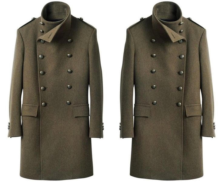 balmain h&m men coat military green double breasted jacket peacoat metal buttons mens hm balmain homme collection collaboration 2015