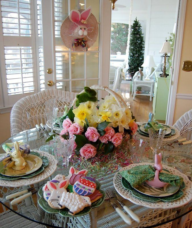 Easter Table Settings Tablescape with Daffodil u0026