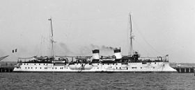 PROTET (1898). 4001t French Catinat class protected cruiser. Armed with 4-6.4in/45 QF M1893 and 10-3.9in/45 QF M1893. Armoured deck 1.8in amidships and 2.4in slopes. Also fitted for 50 mines.