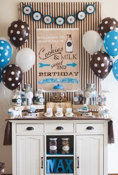 Adorable Vintage Milk & Cookies Birthday Party, just change to pink (+ 5 Budget-Friendly Party Planning Tips) // Hostess with the Mostess®...so forget 2yr olds. lets make this a grown up party.