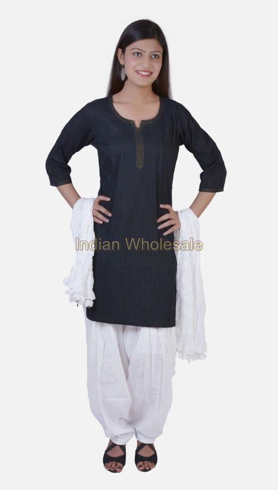 "Sz 40"" Indian Women Cotton Pintex Black Kurti with White Patiala Salwar Kameez"
