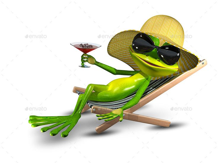 frog in a hat on a deck chair with a glass  lustige