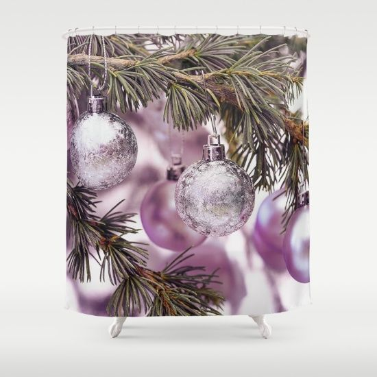 Stunning Pink-Purple and Silver Christmas Ornaments in a tree Shower Curtain