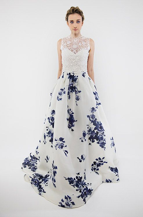 How charming is this blue-accented Francesca Miranda wedding dress?