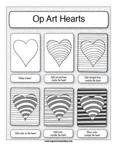 Arte Óptico con corazones