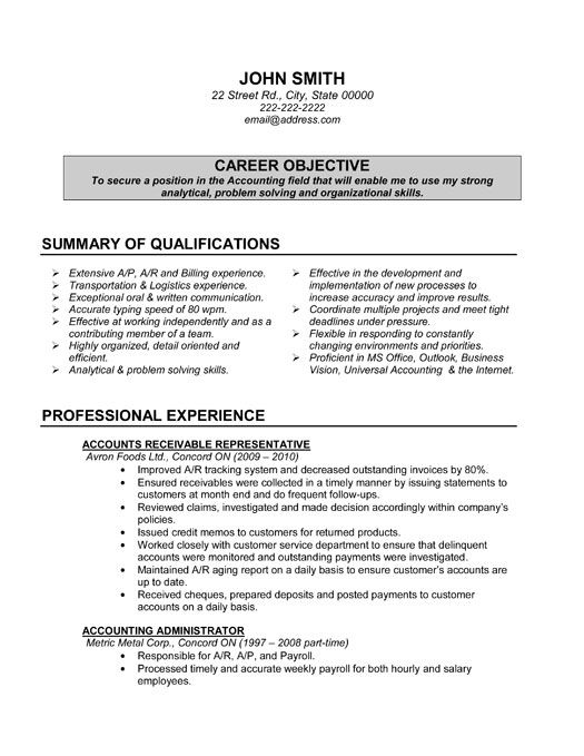 31 best Best Accounting Resume Templates \ Samples images on - accountant resume skills