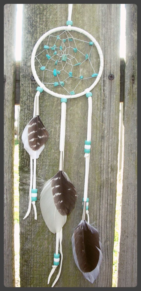 Small Dreamcatcher Leather White with by 7WishesDreamcatchers