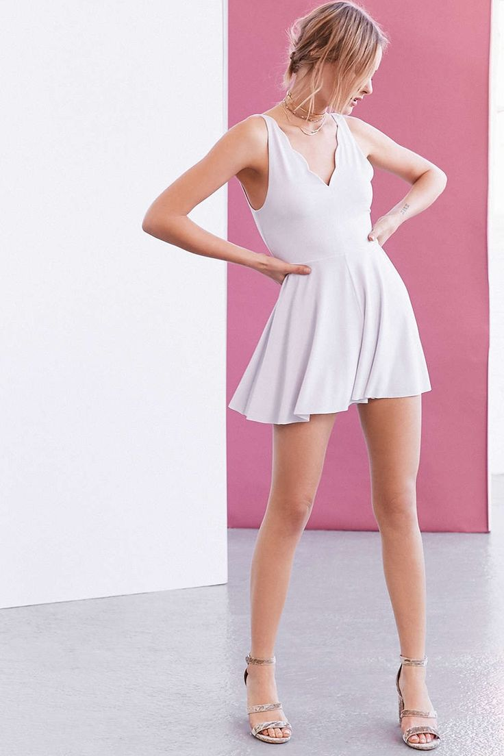 Kimchi Blue Rochay Knit Scalloped V-Neck Romper - Urban Outfitters