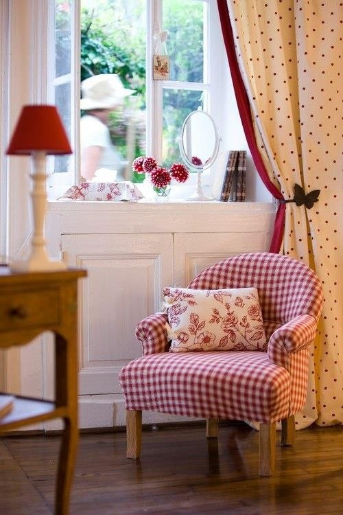 How cute those curtains are! Oh, and the gingham chair too!