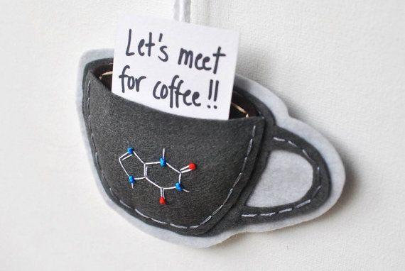 Caffeine Molecule Ornament Stormy Grey Coffee Mug by whatnomints, $24.00