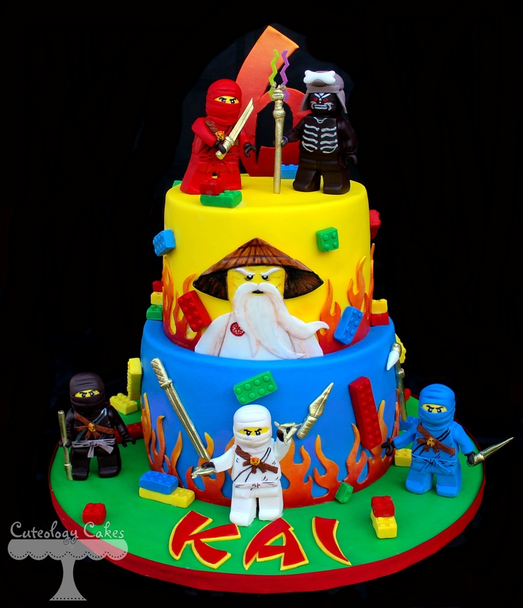 Lego Ninjago Cake with fondant Ninjago characters, legos, and weapons www.facebook.com/i.love.cuteology.cakes