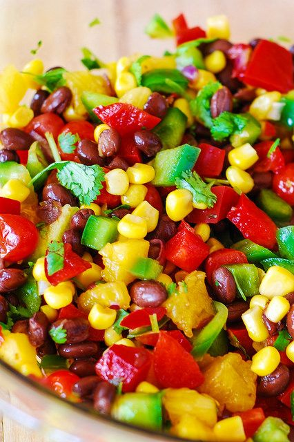 Southwestern salsa with black beans, bell peppers, tomatoes, corn, and pineapple. Vegetarian, gluten-free, vegan, low in fat and low in calories.