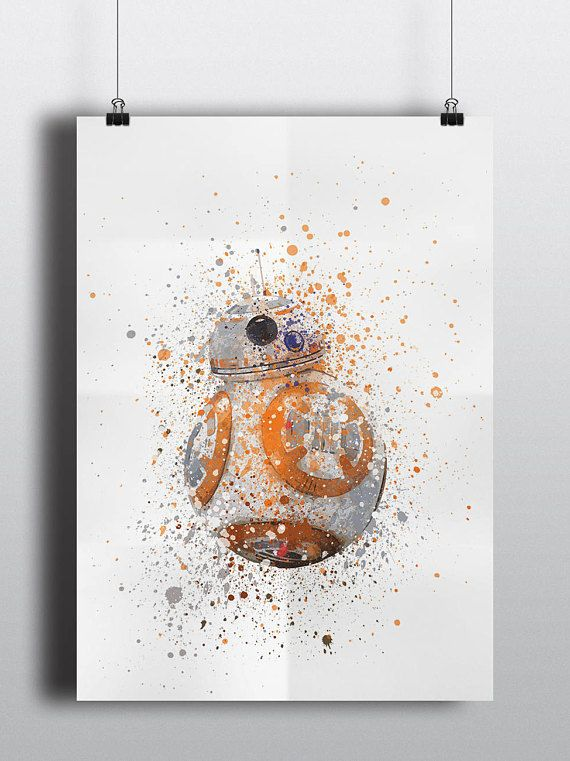 Star Wars Poster Print - BB-8 | Watercolour | A2 Size-Resizable | Printable | Digital Download | Disney | Droid | The Force Awakens