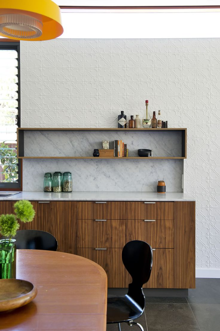 Klopper & Davis Architects-- granite with wood cabinets and pressed tin