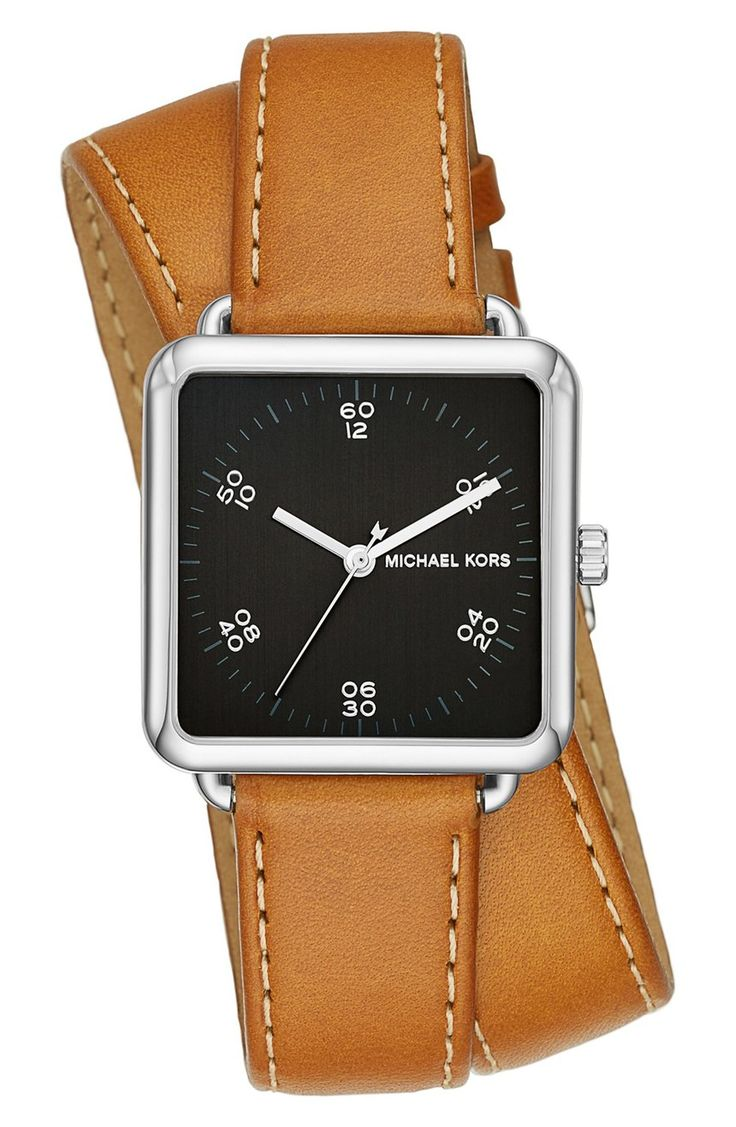 Currently crushing on this sleek Michael Kors watch with a square dial and rich leather strap from the Nordstrom Anniversary Sale.