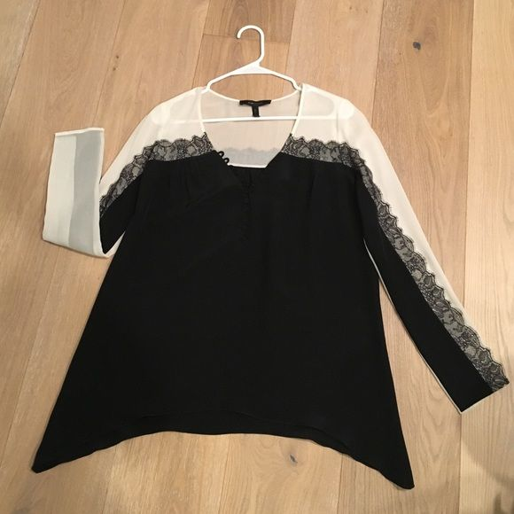 Bcbgmaxazria top Gorgeous black v neck silk with black trail buttons, white silk and lace accents BCBGMaxAzria Tops Blouses