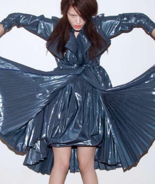 Plastic bag dresses were