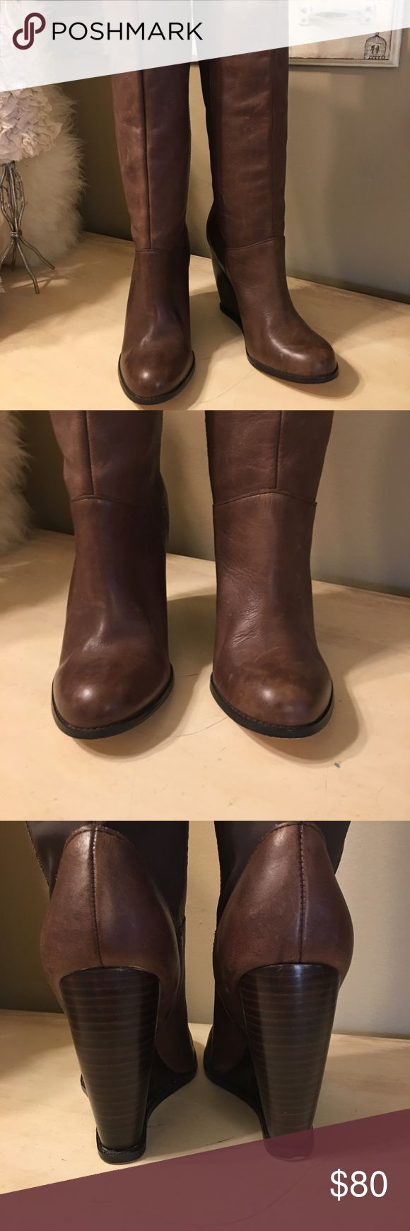 "Seychelles boots Beautiful brown leather distressed Seychelles boots. Bought them and wore them for a few hours. Not my style. They are slide on, back is a very sturdy nylon material, the rest is leather. Heel is 4"" and shaft is about 14"". Platform heel. In excellent condition. Seychelles Shoes Heeled Boots"