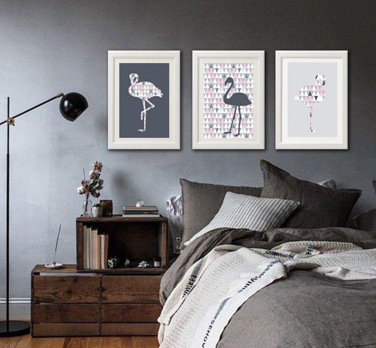 3 affiches flamants roses avec motif scandinave et géométrique : Décorations murales par alexiableu