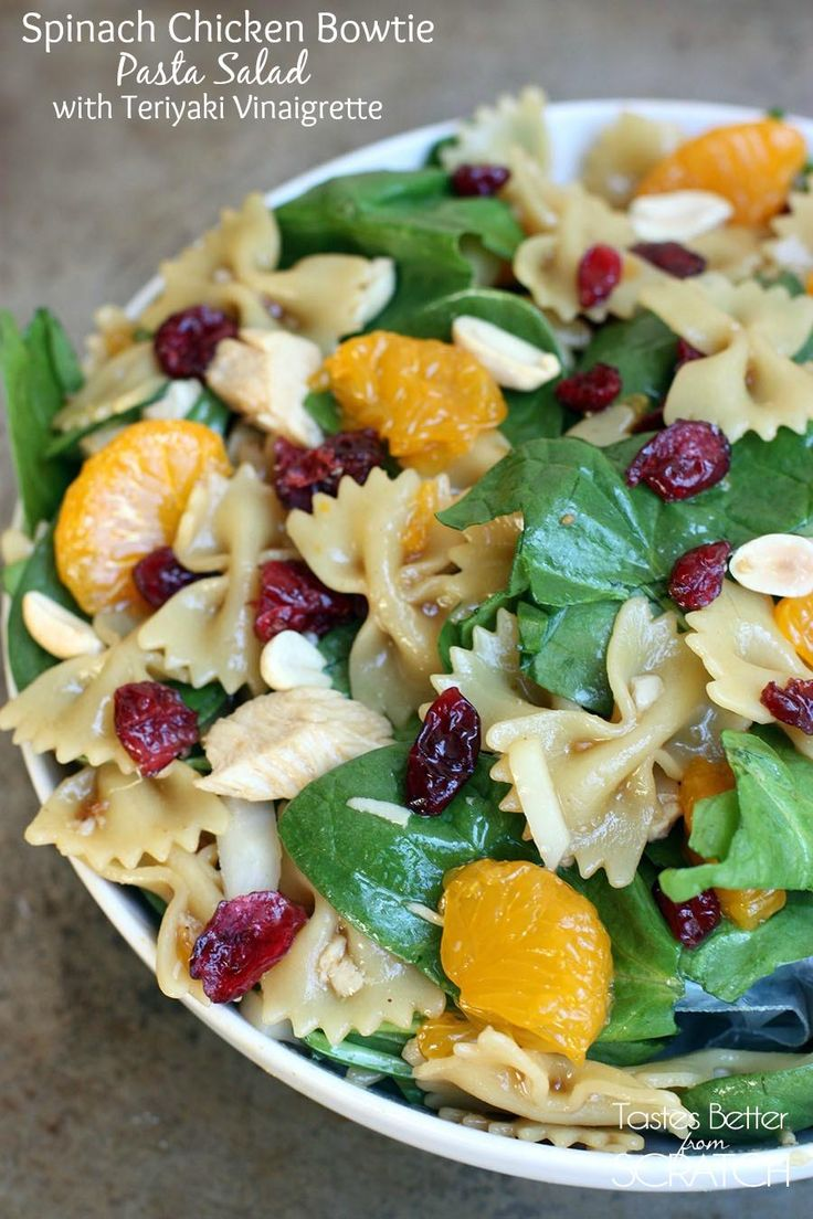 """This sweet and tangy pasta salad makes a yummy side dish or light lunch! Get the recipe <a href=""""http://tastesbetterfromscratch.com/2013/05/spinach-chicken-bowtie-pasta-salad.html""""><strong>HERE</strong></a>."""