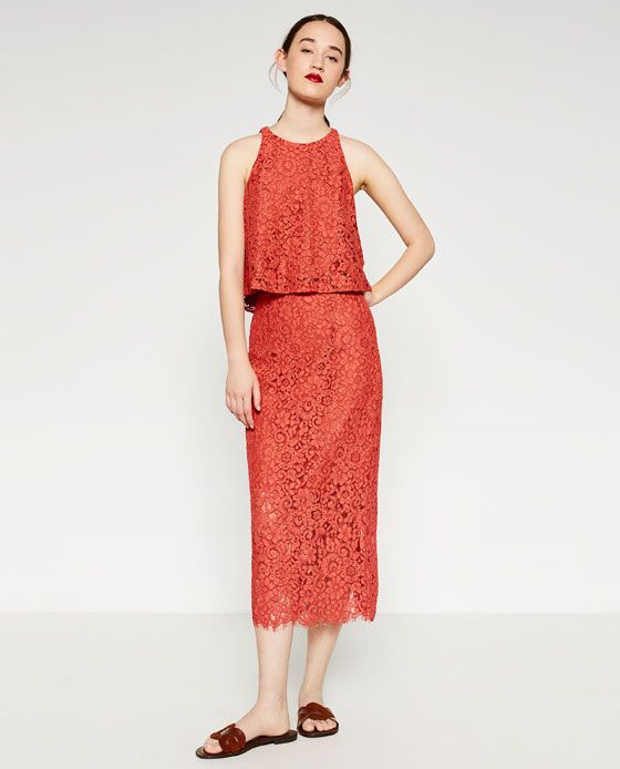 ZARA - WOMAN - GUIPURE LACE PENCIL SKIRT