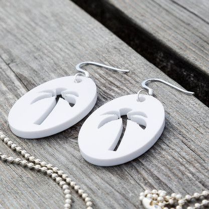Palm tree sterling silver earrings in White by KiviMeri Finland. Gift idea for travelers.