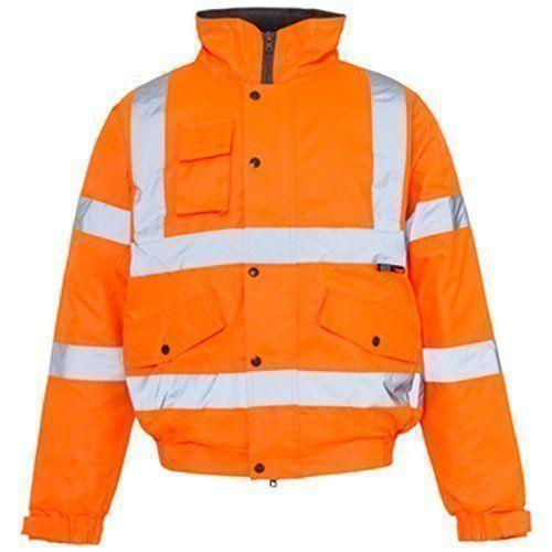 From 14.80 Hi Viz Bomber Reflective Tape Waterproof Quilted Railway Work Jacket Coat High Vis Safety Workwear Security Road Works Concealed Hood Fluorescent Flashing En471 Orange Xlarge
