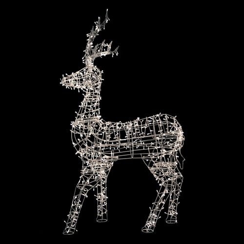 """60"""""""" White LED Lighted Standing Reindeer Outdoor Christmas Decoration - Warm White Lights"""