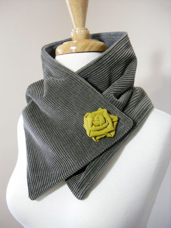 Olive Green Upcycled Neck Warmer Scarf with by OhMaudlinMe on Etsy, $38.00- Love this design idea!
