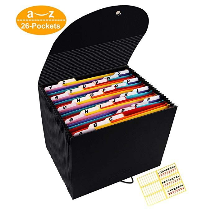 Accordian File Organizer 26 Compartments Expanding Filing Box