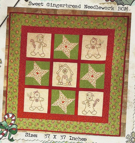 Vintage Embroidery Quilt Pattern: SWEET GINGERBREAD Needlework BOM ...