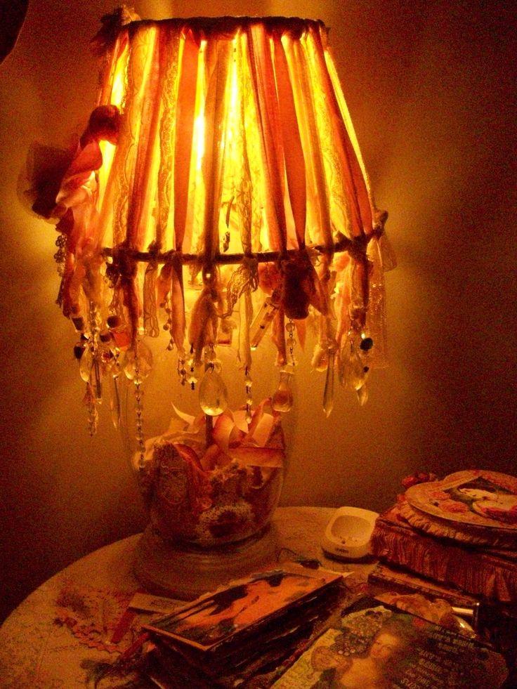 HomeMade Lamp & Rag Shade..my Bedside Table..