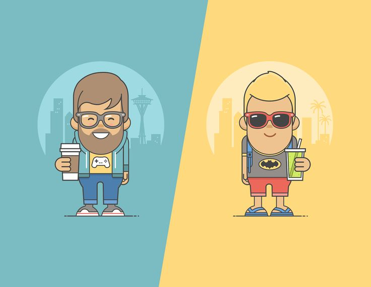 Set of flat Character-Illustrations for a Wellness and Benefitsprogram used for web and print media.