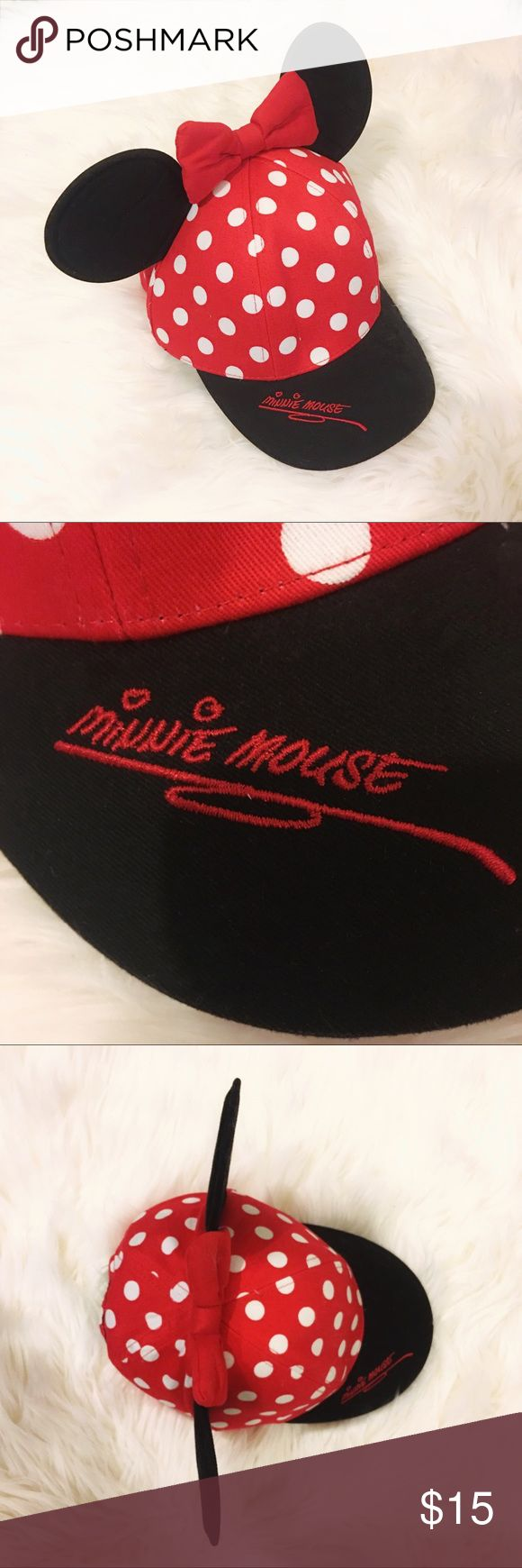 """NWT Mickey Mouse cap hat, Size Teen New with tag! Mickey Mouse ( well actually Minne Mouse, but you know what I mean) hat from Disney World. Adjustable on the back. Note: this hat is labeled as """"teen"""", you can see me wearing it in the last picture,  it's tight and too shallow for me since I'm an adult. ☝️But it may fit if your head circumference is smaller. That's why I'm selling it, a really cute hat which I wanted to keep tho.Time for a more suitable home Disney Accessories Hats"""