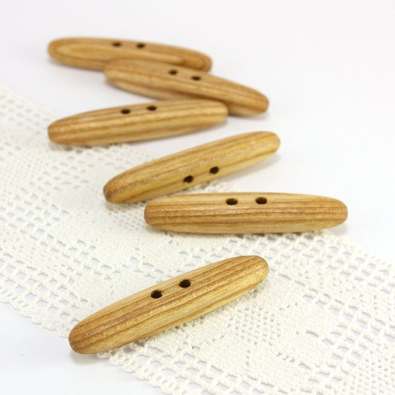 Large wooden toggles. Set of 6 natural ash wood toggle by PuuNooP