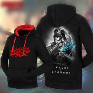 Yasuo fleece pullover hoodie for men League of Legends black sweatshirt XXXL