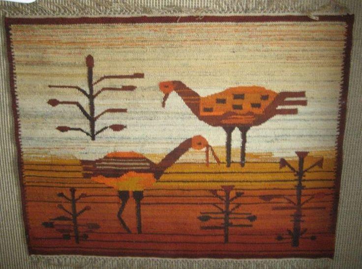 Polish handwoven vintage kilim '70s Olekay (Crane bird) door Kilimam op Etsy