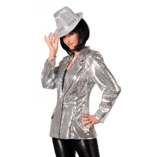 Zilveren glitter colbert dames