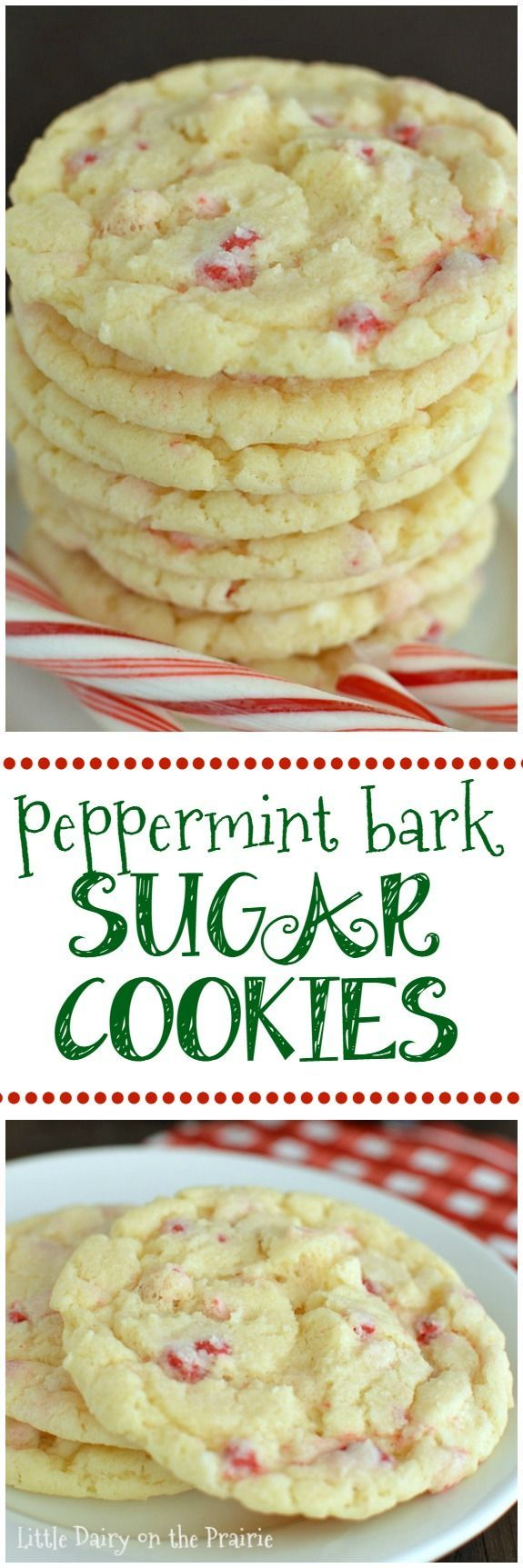 Scrumptious cookies that bring together everything you love about sugar cookies AND everything you love about peppermint bark in melt in your mouth bite! | Little Dairy on the Prairie