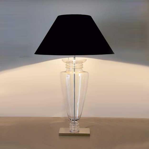 Ambrosia abajur B112300 Em vidro moldado transparente com detalhe em metal cromado e cúpula em tecido preto. transparente ø33 x 89cm 1x60W comum E27