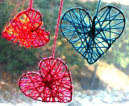 This is a good idea for preschool classmates for Valentine's Day. I think we'll do this! I think it would be really cute to get little letter beads and string those on the yarn to spell out each kids' name.