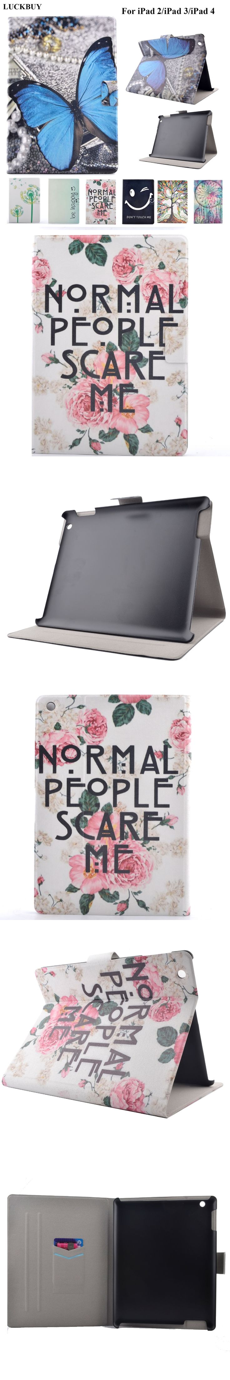 LUCKBUY For ipad 4 3 2 PU Leather Scare me Butterfly Rose flower smart tablet Cover Smart Stand For APPLE iPad 2 3 4 Tablet Case