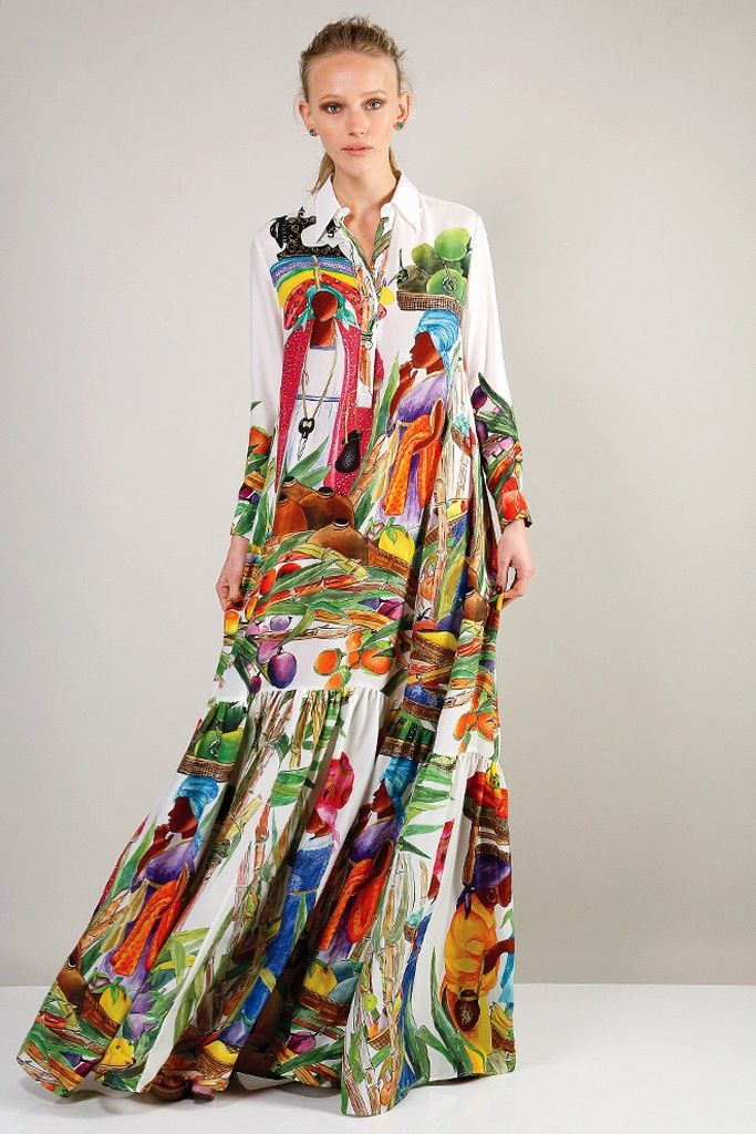 Stella Jean's flared island-print silk dress. [Photo by Kyle Ericksen]