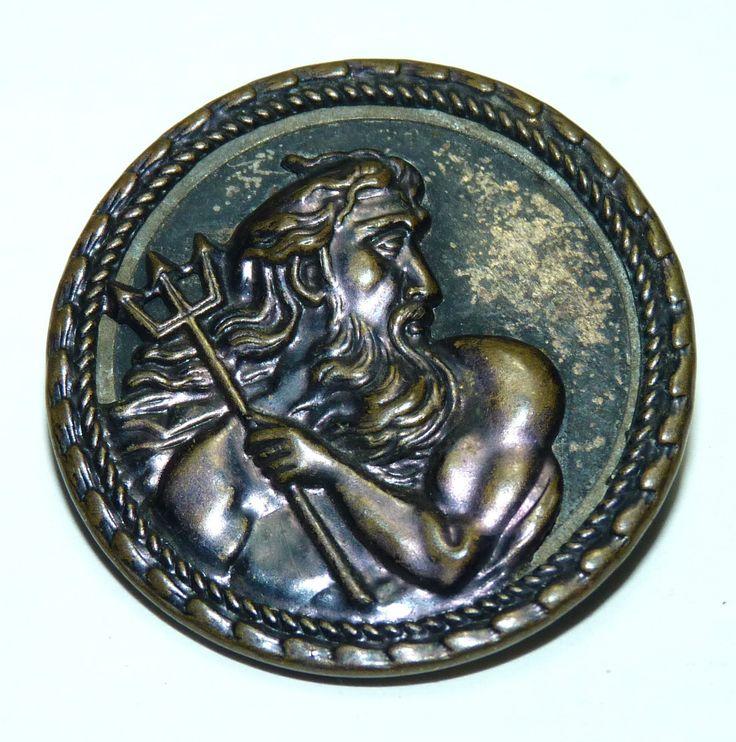 19 Century Nautical Poseidon Neptune Mythology Large Antique Button Vintage B9 | eBay