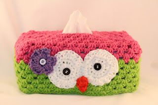 Owl Tissue Box Cover - a combination of two free patterns were used here - links to both of those are available
