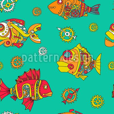 Gear Fishes - Decorative seamless pattern with mechanical fishes.