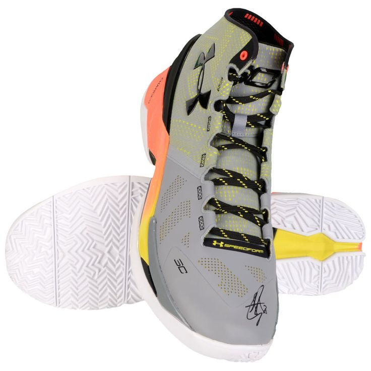 Stephen Curry Golden State Warriors Fanatics Authetic Autographed Under Armour Curry 2 Grey and Yellow Shoes