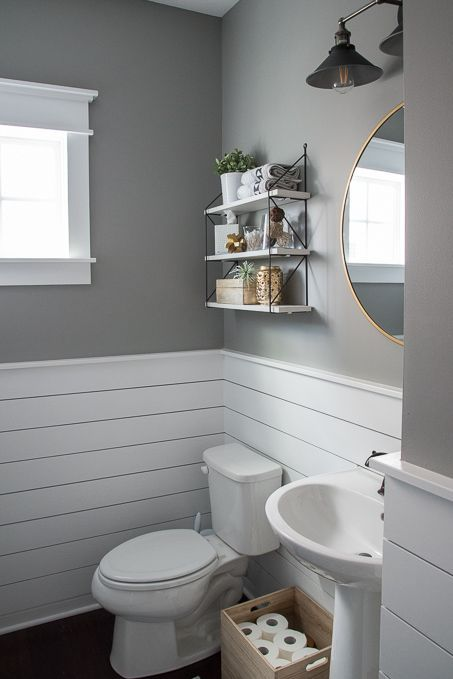 Check out this beautiful powder room reveal! This tiny ... on Rustic:s9Dkpzirpk8= Farmhouse Bathroom  id=54767