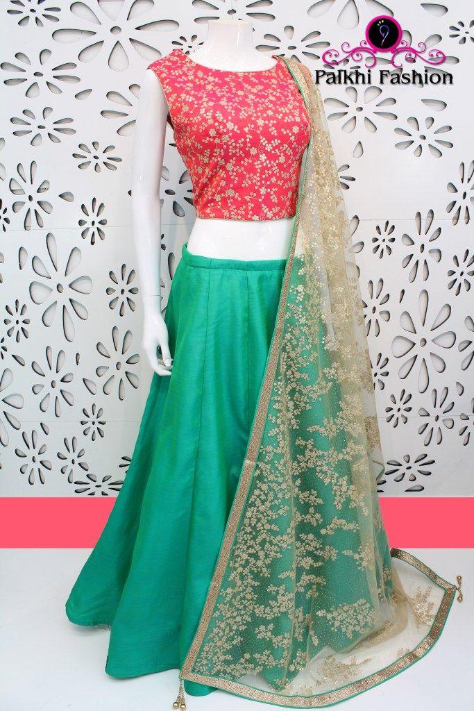 PalkhiFashion Exclusive Full flair Green Designer Lehenga with Blouse in Resham & Zari